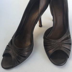 Kenneth Cole Brown D'Orsay Open-Toe Heels Sz 8
